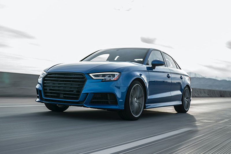 Blue Audi in action