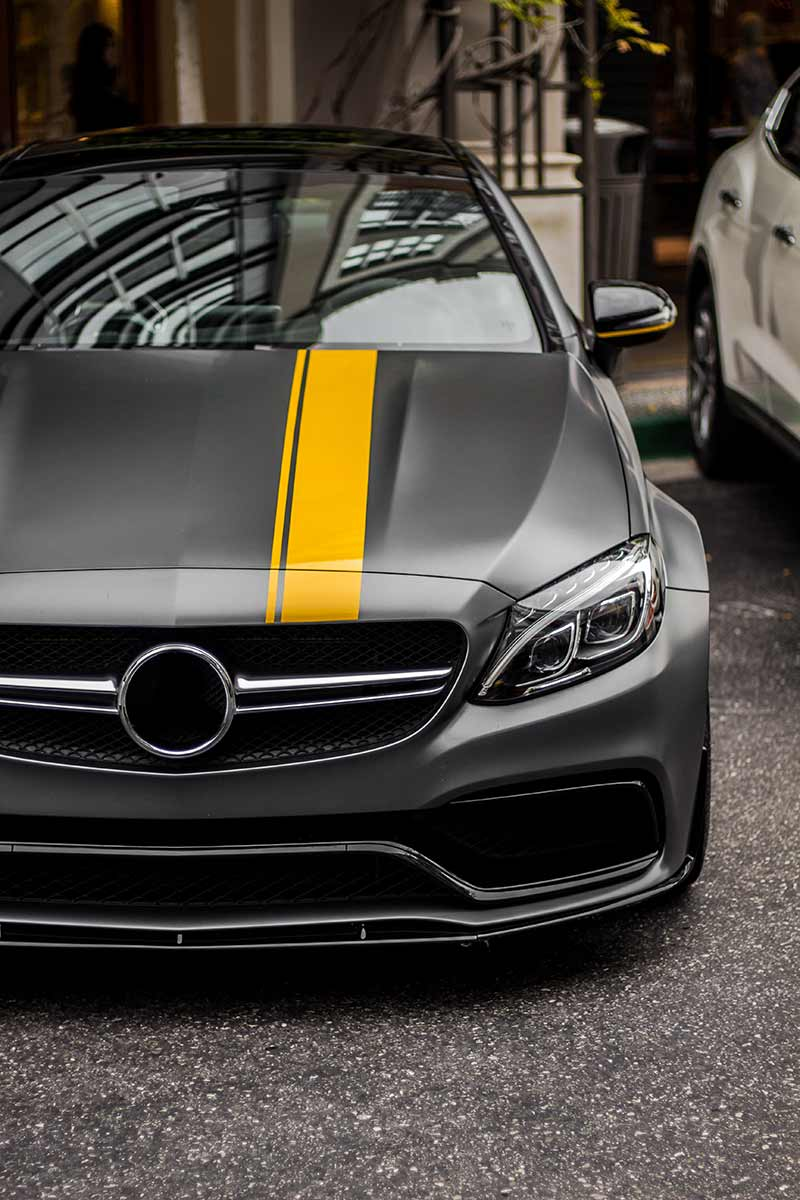 Mercedes CLK yellow racing stripe